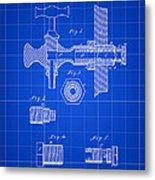 Beer Tap Patent 1876 - Blue Metal Print