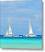 5 Boats In A Row Metal Print