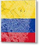 Bogota Street Map - Bogota Colombia Road Map Art On Colored Back Metal Print
