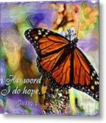 Butterfly Scripture Metal Print