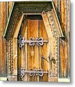 Detail Of The Door Of A Typical Ukrainian Antique Orthodox Churc Metal Print