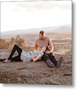 Engaged Couple At Smith Rock In Oregon Metal Print