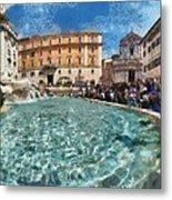 Fontana Di Trevi In Rome Metal Print