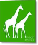 Giraffe In Green And White Metal Print