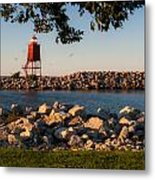 Lighthouse In Lake Michigan Nature Scenary Near Racine Wisconsin Metal Print