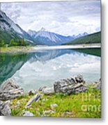 Mountain Lake In Jasper National Park Metal Print