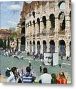 Outside Colosseum In Rome Metal Print by George Atsametakis