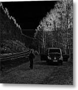 Parking Next To A Loch In The Scottish Highlands Metal Print