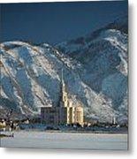 Payson Utah Temple In January 2014 Metal Print
