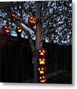Pumpkin Escape Over Fence Metal Print