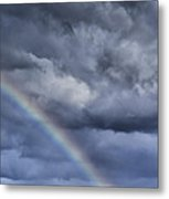 Rainbow Over Pasture Field Metal Print