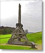 Replica Of Wooden Trebuchet And The Ruins Of The Urquhart Castle Metal Print