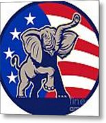 Republican Elephant Mascot Usa Flag Metal Print by Aloysius Patrimonio