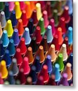 Rows Of Multicolored Crayons  Metal Print