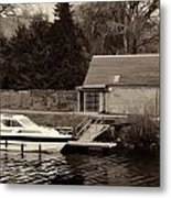 Small White Yacht In The Water Of The Caledonian Canal Metal Print