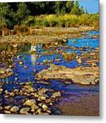 The Cana Island Lighthouse In Baileys Harbor Reflective Waters. Metal Print