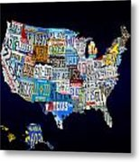 The Usa License Tag Map Metal Print