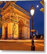 Twilight At Arc De Triomphe Metal Print