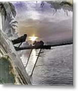 View Of Sunrise From Boat Metal Print