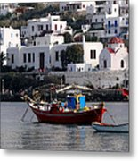 A Boat In The Harbor Of Mykonos Greece Metal Print