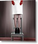 Woman On Chair Metal Print