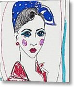 50's Fashion Girl Metal Print