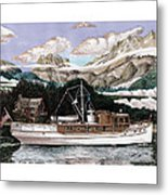 North To Alaska On A 53 Foot Classic Yacht  Metal Print
