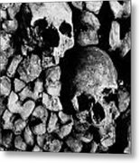 Skulls And Bones In The Catacombs Of Paris France Metal Print