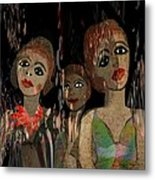 562 - Three Young Girls   Metal Print by Irmgard Schoendorf Welch