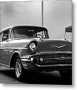 57 Chevy Bel-aire In Bw Metal Print