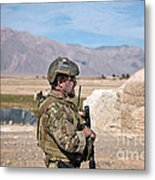 A Coalition Force Member Maintains Metal Print