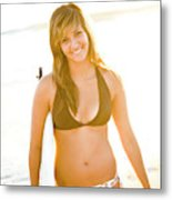 A Surfer Girl Poses For Fun Portraits Metal Print
