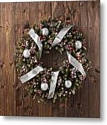 Advent Christmas Wreath Decoration Metal Print