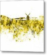 Amsterdam Skyline In Watercolor On White Background Metal Print