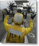 Aviation Boatswains Mate Directs An Metal Print