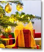 Christmas Tree Decorated With Presents Metal Print
