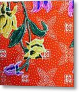 Colorful Batik Cloth Fabric Background  Metal Print