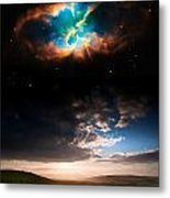Countryside Sunset Landscape With Planets In Night Sky Elements  Metal Print