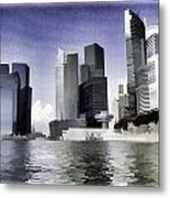 Financial District Of Singapore And View Of The Water In Singapore Metal Print