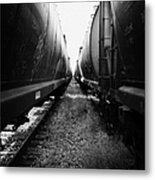freight grain trucks on former canadian pacific railway now great sandhills railway through leader S Metal Print