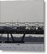 Helix Bridge And Road Bridge Next To Each Other In Singapore Metal Print