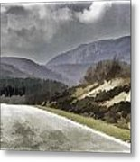 Highway Running Through The Wilderness Of The Scottish Highlands Metal Print