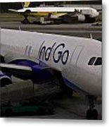 Indigo Aircraft Getting Ready In Changi Airport Metal Print