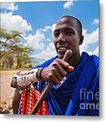 Maasai Man Portrait In Tanzania Metal Print