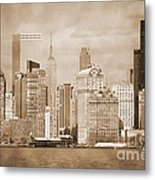Manhattan Buildings Vintage Metal Print