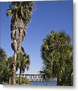Melbourne Causeway To Indialantic In Central Florida From Geiger Metal Print