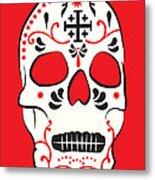 Mexican Sugar Skull For Dia De Los Muertos Metal Print