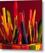 Multi Colored Paint Brushes Metal Print