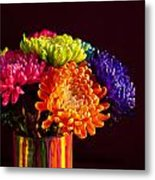 Multicolored Chrysanthemums In Paint Can Metal Print