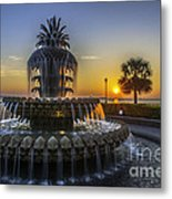 Sun Rays Over Waterfront Park Metal Print